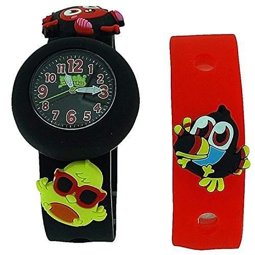 Moshi Monsters Kinderuhr schwarzes und rotes Tauscharmband mit Charms AMMDI