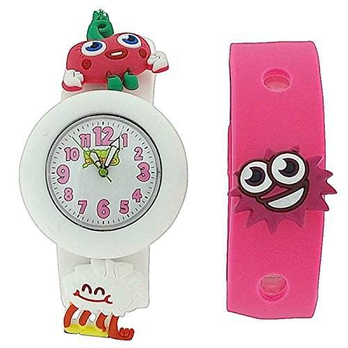 Moshi Monsters Kinderuhr weisses und rosa Tauscharmband mit Charms AMMLU