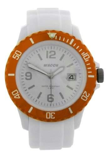 Waooh - Montre MONACO Blanche 38 Lunette Transparente Orange