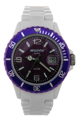 Waooh Uhr MILANO38 Weiss Zifferblatt Luenett Transparent Farbe Violett
