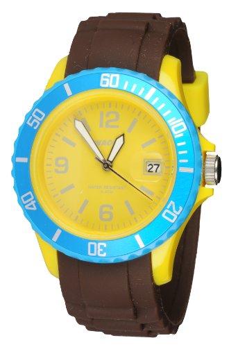 Waooh Uhr Monaco38 Tricolor Braun Gelb