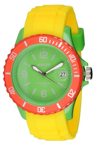 Waooh Uhr Monaco38 Tricolor Gelb Gruen