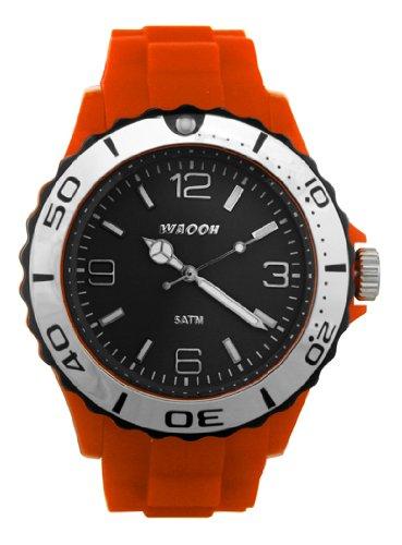 Waooh Uhr MC42 Orange Zifferblatt Schwarz Luenette Schwarz Silver