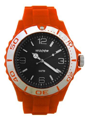 Waooh Uhr MC42 Orange Zifferblatt Schwarz Luenette Silver