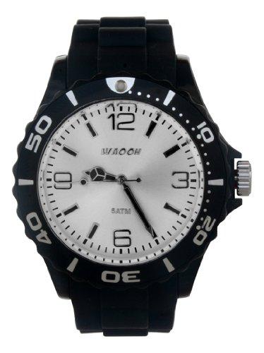 Waooh Uhr STM42 Schwarz Luenett Schwarz Zifferblatt Weiss Armband Kautschuk 42mm