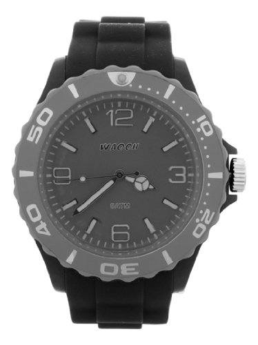Waooh Uhr MC42 Schwarz Zifferblatt Luenette Farbe Grau