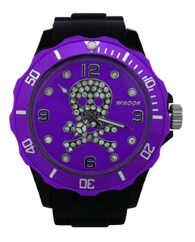 Waooh Uhr Skull and Bones Strass 39 Schwarz mit Zifferblatt Farbe Luenette Violett