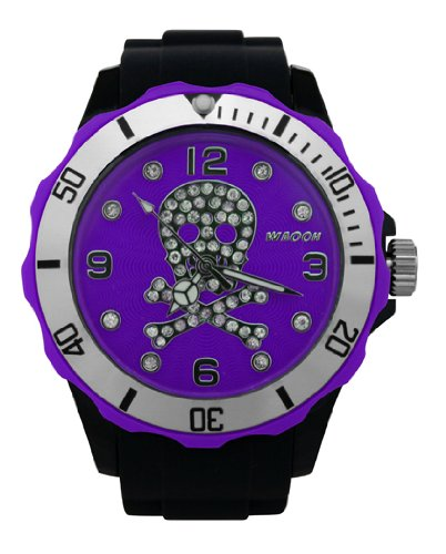 Waooh Uhr Skull and Bones Strass 39 Schwarz mit Zifferblatt Farbe Silver Luenette Violett