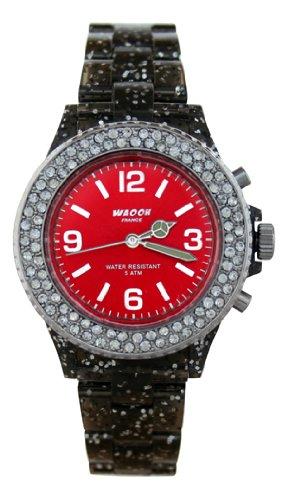 Waooh Uhr VENISE 34 Schwarz mit Glitzen Rot Zifferblatt