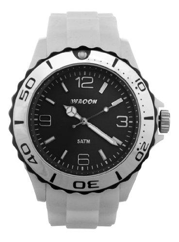 Waooh Uhr MC42 Weiss Zifferblatt Schwarz Luenette Schwarz Silver