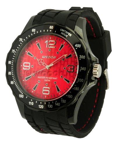 Waooh Uhr GPM48 Zifferblatt Red Schwarz silicone armband