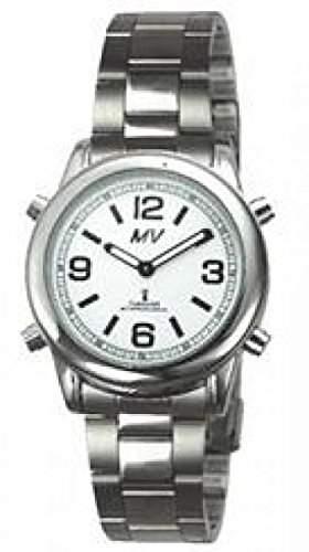 sprechende analoge unisex Funkuhr Armbanduhr Blindenuhr Edelstahlarmband 1136 40mm