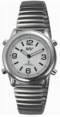 sprechende analoge unisex Funkuhr Armbanduhr Blindenuhr Zugarmband 1136V 40mm