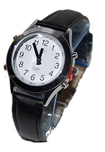 sprechende analoge Damen Armbanduhr Blindenuhr Leder-Armband Komplettdatum 32mm DSL