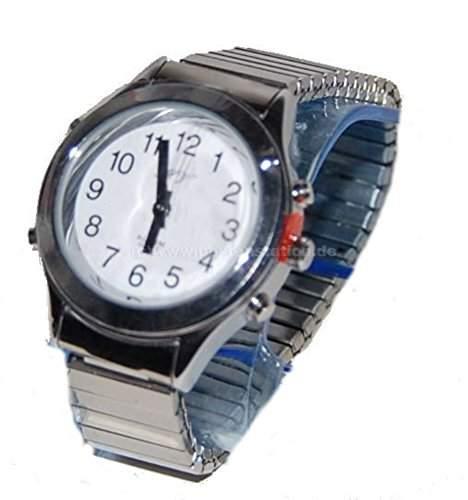 sprechende analoge Damen Armbanduhr Blindenuhr Zug-Armband Komplettdatum 32mm DSM