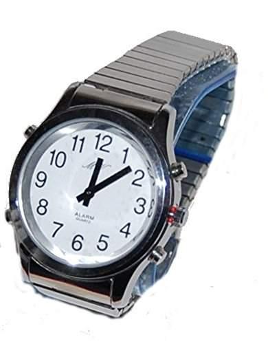 sprechende analoge unisex Armbanduhr Blindenuhr Zug-Armband Komplettdatum 38mm HSM