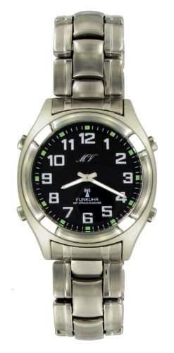 LUXUS Sprechende Funk Armbanduhr Funkuhr Uhr Sprachausgabe Metall Armband Herren