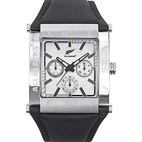 All Blacks-680158-Armbanduhr-Quarz Chronograph-Zifferblatt Silber-Armband Leder Schwarz