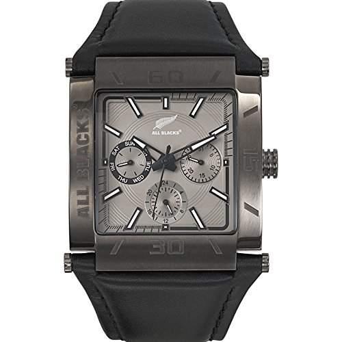 680159 All Blacks Herren-Armbanduhr Chronograph Armband Leder schwarz-grau