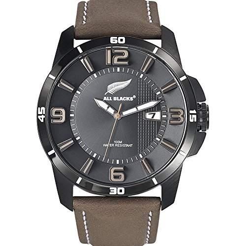 All Blacks-680234-Armbanduhr-Quarz Analog-Zifferblatt schwarz Armband Leder braun