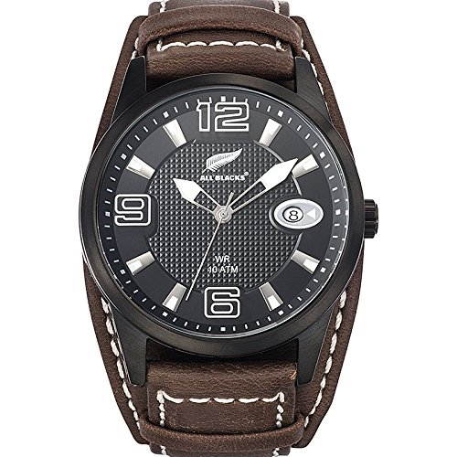 All Blacks 680296 Armbanduhr Quarz Analog Zifferblatt schwarz Armband Leder braun