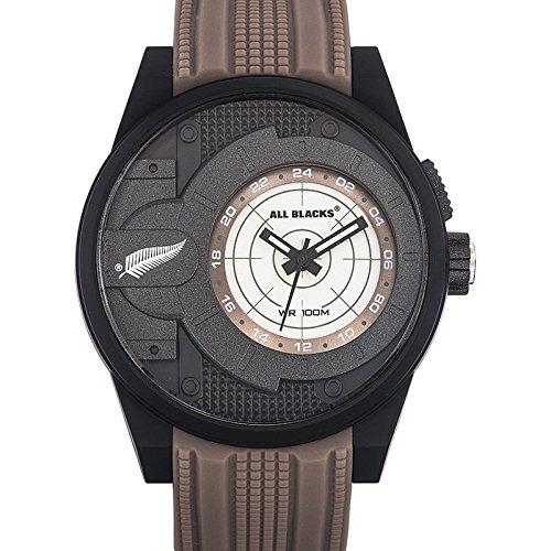 All Blacks 680293 Armbanduhr Quarz Analog Zifferblatt schwarz Armband Silikon Beige