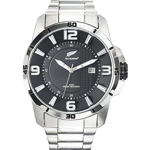 All Blacks 680288 Armbanduhr Quarz Analog Zifferblatt schwarz Armband Stahl Silber