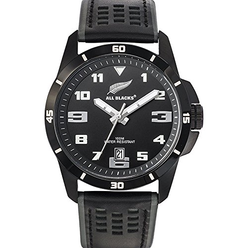 All Blacks 680271 Armbanduhr Quarz Analog Zifferblatt schwarz Armband Leder schwarz
