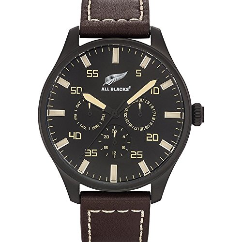 All Blacks 680270 Armbanduhr Quarz Analog Zifferblatt schwarz Armband Leder braun
