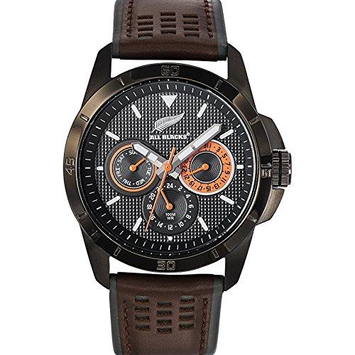 All Blacks 680274 Armbanduhr Quarz Analog Zifferblatt schwarz Armband Leder zweifarbig