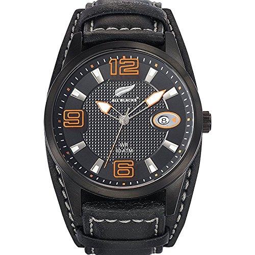 All Blacks 680297 Armbanduhr Quarz Analog Zifferblatt schwarz Armband Leder zweifarbig