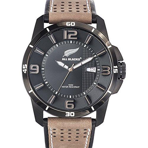 All Blacks 680299 Armbanduhr Quarz Analog Zifferblatt schwarz Armband Leder zweifarbig
