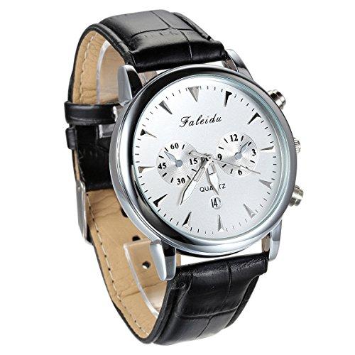 JewelryWe Wasserdicht Analog Quarz Vintage Business Uhr mit Leder Armband Schwarz