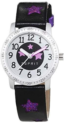 Esprit Maedchen-Armbanduhr Glittering Dance Black Analog Quarz Leder ES103524019
