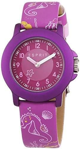 Esprit Unisex-Armbanduhr Sea Playground Purple Analog Quarz Leder ES103454013