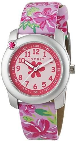 Esprit Maedchen-Armbanduhr Tropical Flowers Pink Analog Quarz Leder ES108344003