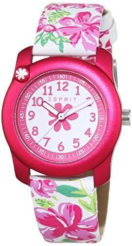 Esprit Maedchen-Armbanduhr Tropical Flowers White Pink Analog Quarz Leder ES108344004