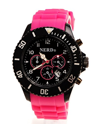 Originale Nerd Armbanduhr in Pink Schwarz