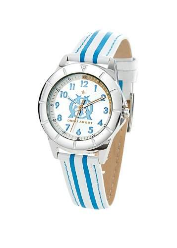 Trendy Junior-OM8007, Olympique de Marseille Jungen-Armbanduhr Anastasie Quarz analog Leder-bi-color