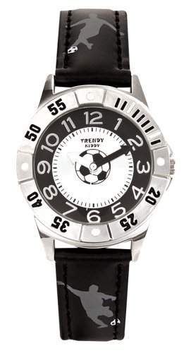 Trendy Junior Jungen-Armbanduhr Analog Leder schwarz KL 177