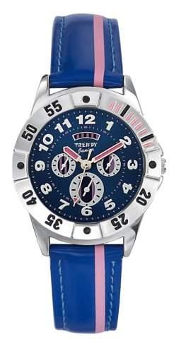 Trendy Junior Unisex-Armbanduhr Analog Leder blau KL 182