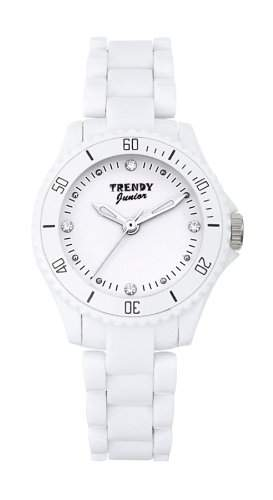 Trendy Junior-kl 184-Maedchen Armbanduhr Analog-Weisses Ziffernblatt-Armband Kunststoff weiss