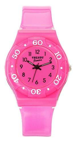 Trendy Junior Maedchen-Armbanduhr Analog Plastik rosa KL 187