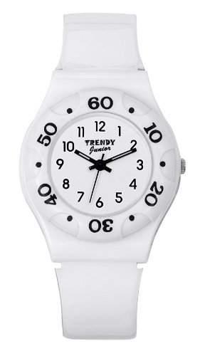 Trendy Junior Maedchen-Armbanduhr Analog Plastik weiss KL 188
