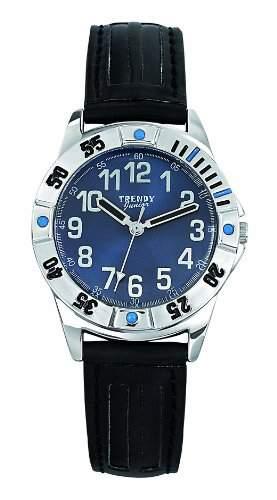 Trendy Junior Unisex-Armbanduhr Analog Leder blau KL222
