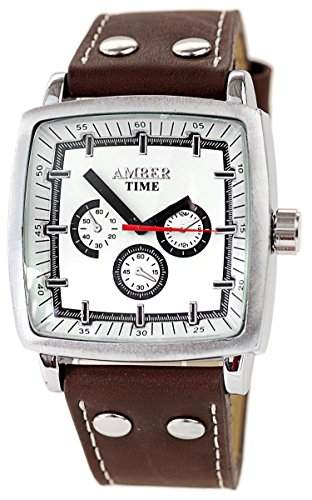 Elegante XXL Herrenuhr mit Braunen Lederband Chronograph