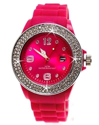 Damenarmbanduhr Pink - Funkelnder Strassring Silber