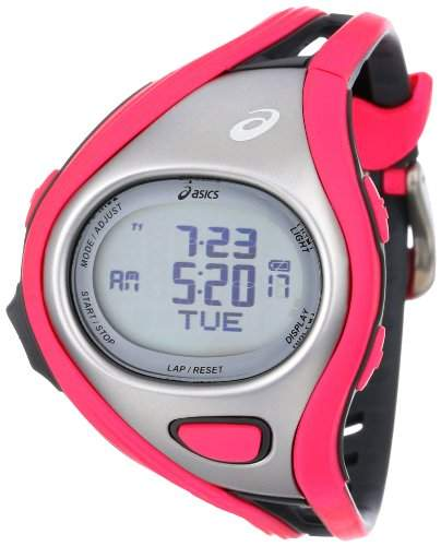 Asics Unisex-Armbanduhr DIGITAL SPORTWATCH CHALLENGE S pinksilber Digital Plastik CQAR0306