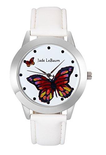 Jade LeBaum Grosse Gesichts Schmetterlings Zifferblatt weisses Leder Band Silber Ton Fall Einzigartige JB202813G