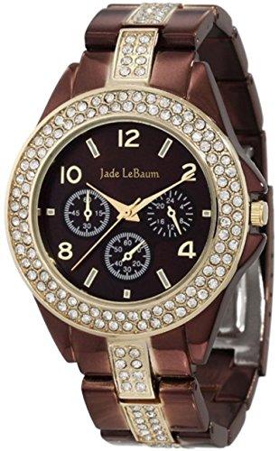 Frauen Schokobraun analoge Uhr Strass Akzent Armband Jade LeBaum JB202747G
